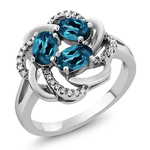 1.87 Ct Oval London Blue Topaz 925 Sterling Silver Flower Blossom Ring (Available in size 5, 6, 7, 8, 9) (Topaz Blossom)
