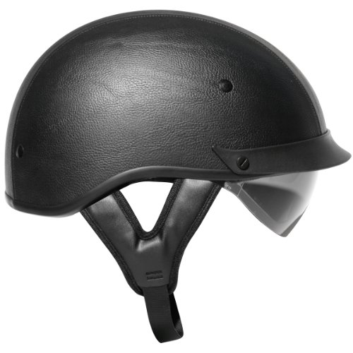 Outlaw T-72 Black Synthetic Leather Dual-Visor Motorcycle Half Helmet - Large (Synthetic Visor)