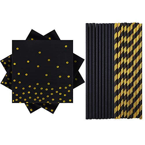 Elcoho 100 Pieces Black with Gold Party Supplies Party Tableware 50 Pieces Napkins and 50 Pieces Paper Straws for Birthday Baby Bridal Shower Wedding