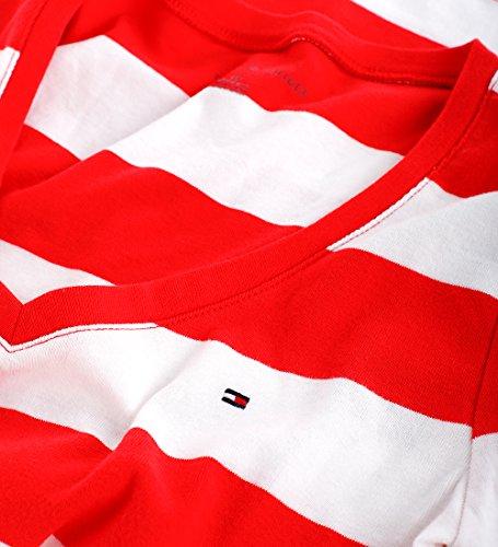 Tommy Hilfiger Damen V-Neck Shirt T-Shirt Marine rot Größe M