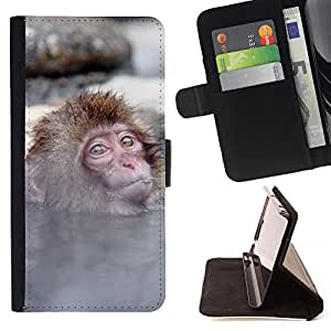 King Air - Premium PU Leather Wallet Case with Card Slots, Cash Compartment and Detachable Wrist Strap FOR HTC Desire 820 D820 d820t- Monkey Cute Animal