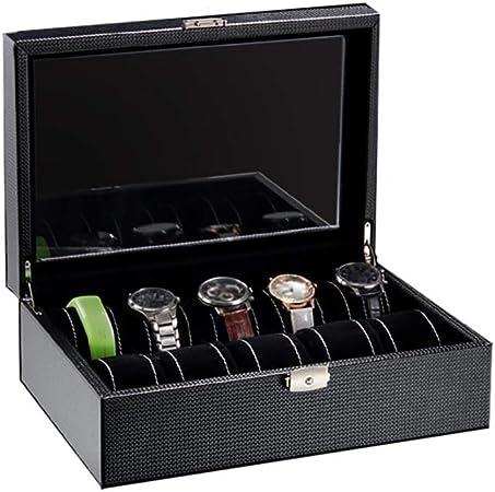 GJ-bsn Caja organizadora de Madera para 10 Relojes, Joyas, Expositor, con Tapa de Cristal: Amazon.es: Hogar