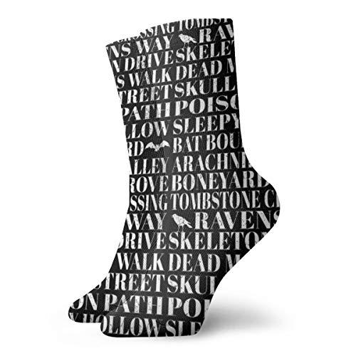 Dead Mans Walk - Halloween Typography Black U0026 White_11283 Painting Art Printed Funny Novelty Animal Casual Cotton Crew Socks -