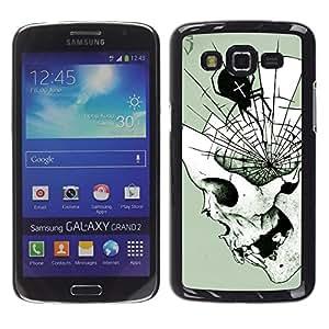 Be Good Phone Accessory // Dura Cáscara cubierta Protectora Caso Carcasa Funda de Protección para Samsung Galaxy Grand 2 SM-G7102 SM-G7105 // Spider Skull Halloween Death Metal