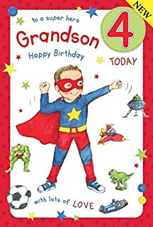 Super Hero Grandson Age 4 Large Luxury 4th Birthday Card
