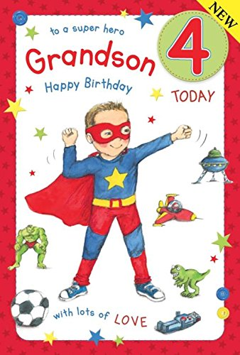 Super Hero Grandson Age 4 ~ Large Luxury 4th Birthday Card Grass Roots