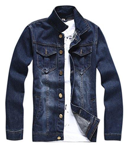 Chouyatou Men's Classic Front Button Fly Denim Trucker Jacket Unlined Blue