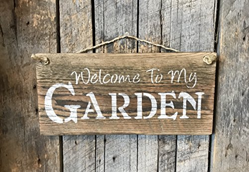 Welcome To My Garden Barn Wood Sign (Sign Welcome Garden Yard)