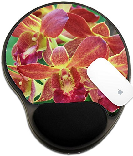 Red Dendrobium Orchid (Luxlady Mousepad wrist protected Mouse Pads/Mat with wrist support design IMAGE ID 21095555 Dendrobium red orchid)