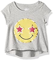 Crazy 8 Girls' Toddler Short-Sleeve Drapey Graphic Tee, Cozy Heather, 6-12 mo