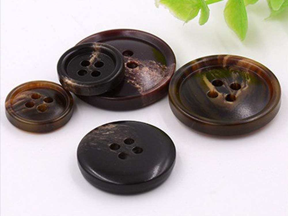 Moda Pulsante per Cucire Corno 4 Fori Set Bottoni a Forma di Cerchio per Uomo Donna caff/è-1, 15mm 10PCS Bottoni Vestiti