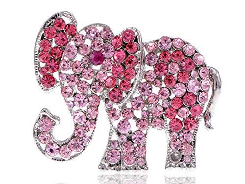 Baby Rhinestone Brooch - Pink Light Rose Crystal Rhinestone Fashion Jewel Circus Baby Elephant Pin Brooch