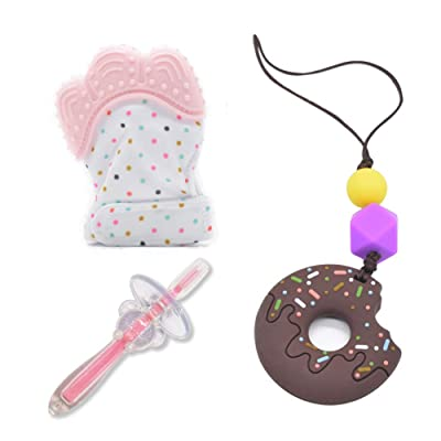 CYRAN Teethers Toys Donut Teethers, Teething Mitten Infant Toothbrush Silicone Mother Necklace, Gift for Toddlers Novice Mother 3 Pack Brown: Toys & Games
