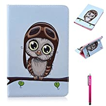 Galaxy Tab A 8.0 Case, Firefish Damage Resistance Case Premium PU Leather Wallet Card Slots Kickstand Feature Case for Samsung Galaxy Tab A 8.0 inch Tablet SM-T350 - Owl