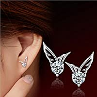 Sweet Earrings Silver Plated Jewelry Angel Wings Crystal Ear Studs As Gift New