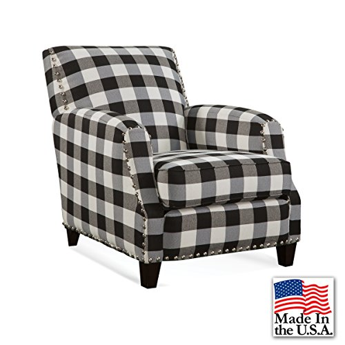 Holly Black and White Plaid Accent Chair with Nail Heads (Back Carver Chair)