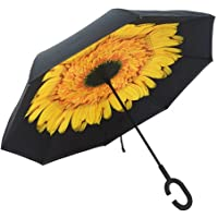 Upside Down Reverse Umbrella Windproof C-Handle Double Layer Inside-Out Inverted