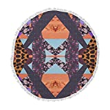 KESS InHouse Vasare Nar Pillow Kaleidoscope Purple Orange Round Beach Towel Blanket