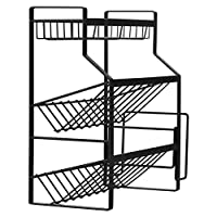 GANZAO Kitchen Seasoning Storage Rack, Carbon Steel Three-Layer Design Items Classification Shelf Oblique Design Easy to Hold Steady Without Shaking (Color: Black)