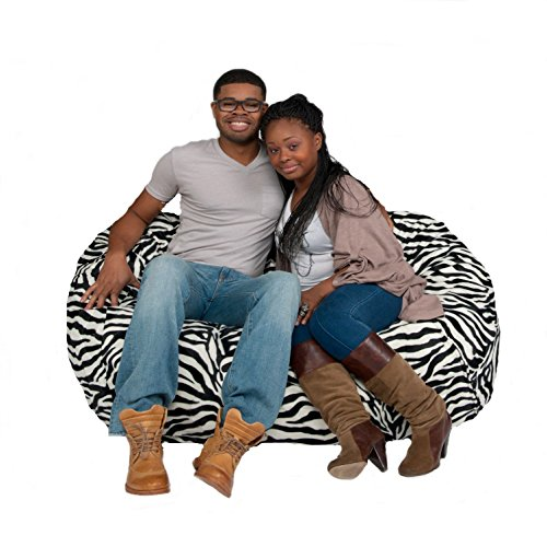 Bean Bag Chair 5' With 29 Cubic Feet of Premium Foam inside a Protective Liner Plus Removable Machine Wash Microfiber Cover by Cozy Sack (Zebra Bean Bag Chair)