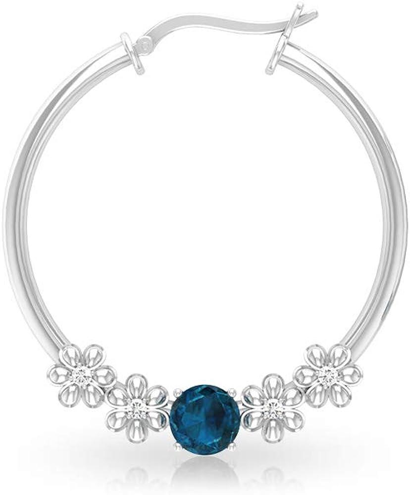 Pendientes de aro con topacio azul de 1,12 quilates, con diamantes de flores antiguos certificados IGI, pendientes de boda nupcial, IJ-SI color claridad diamante vintage, cerradura rusa