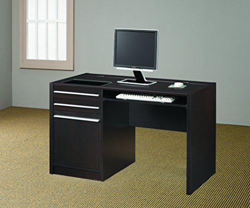 Coaster Home Furnishings Ontario Single Pedestal Computer Desk with Charging Station Cappuccino