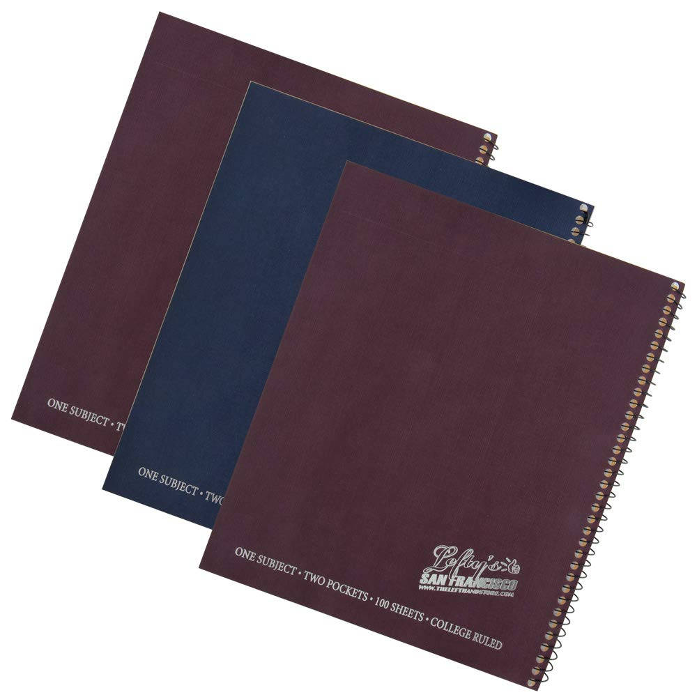 Left Handed College Ruled Notebook With Lefty's The Left Hand Store Logo, Set of 3, Assorted Colors