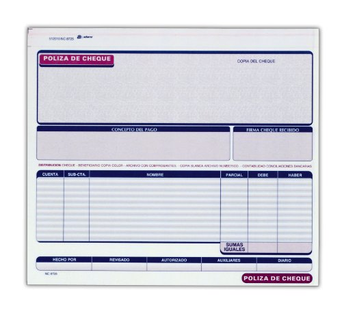 Adams Poliza De Cheque, Spanish Language Check Record, 2-Part, Carbonless, White/Canary, 8.5'' x 7.38'', 25 Sets per Pack by Adams