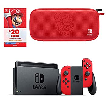 Nintendo Switch Bundle with Mario Red Joy-Con, $20 Nintendo eShop Credit, & Carrying Case Games