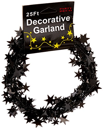 PARTY DECO Foil Star Garland, 25, Black