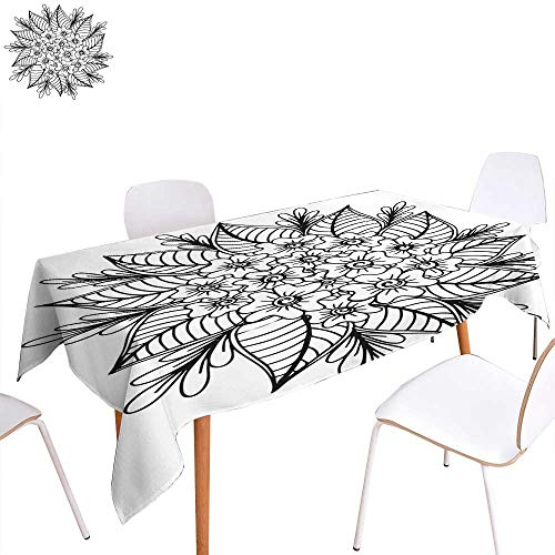 Rectangular Polyester Tablecloth Hand Drawn Floral Doodle Coloring Pages for Book - Illustration Circle Ink Coloring Drawing - Activity Formal Garden Rectangle/Oblong W 60