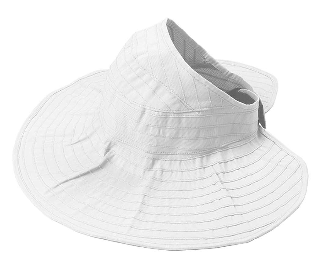 Ponytail UV Protection Visor Beach Hat Backless Summer Women Sun-Hat Packable Wide-Brim