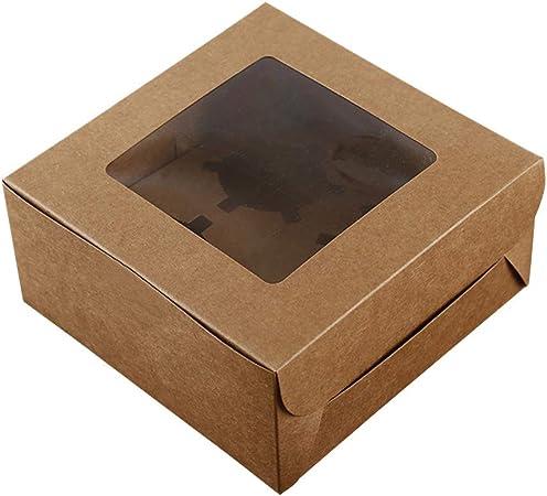 BESTONZON Cajas de pastel Kraft de 10 piezas para panadería Cajas de cupcakes marrones con ventana Pastel Cajas de pastel de boda Cajas para pastel de boda Portadores de pastel(4 cavidades): Amazon.es: