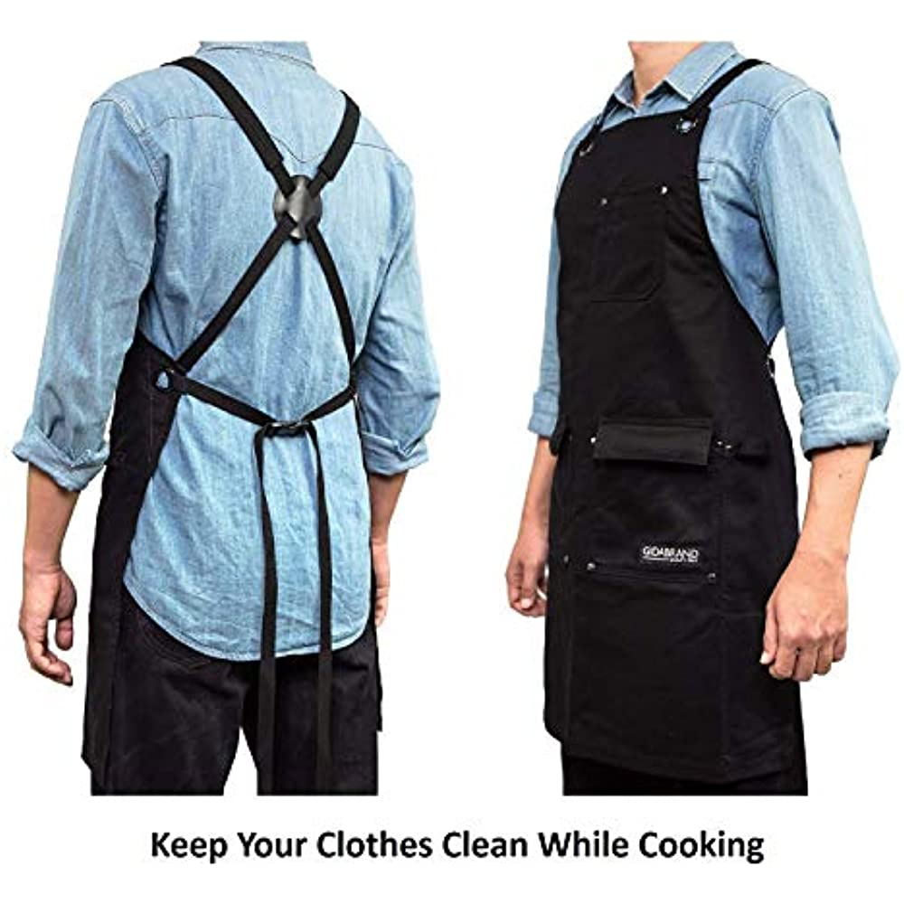 HogoR Professional Grade Chef BBQ Apron for Cooking Kitchen and Grill with Towel