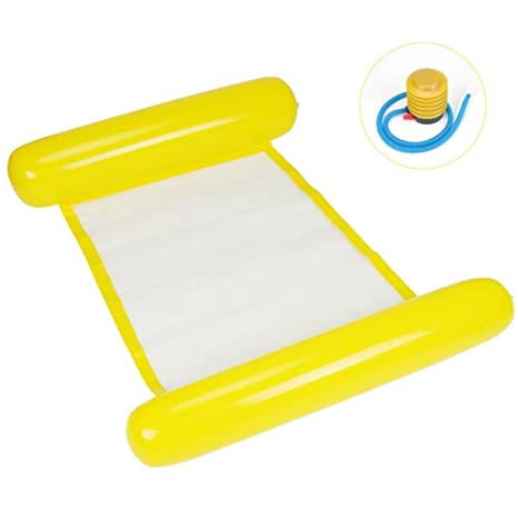 Cama Flotante Inflable Hamaca Flotante Inflable del Agua para Piscina Playa(Amarillo)