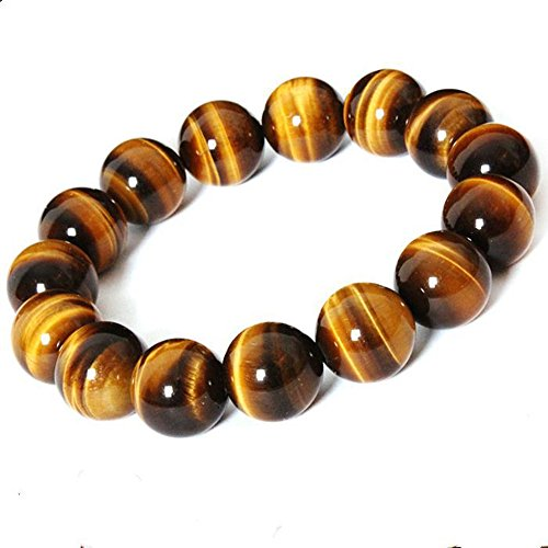 16 Mm Tiger (Mens Womens Cool Black Matte Agate Gems 8MM Beads Stretch Bracelet with Dragon Vein Agate Tiger Eye Beads (Tiger Eye-Yellow,)