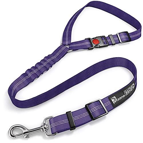 correa cinturon de seguridad auto para perros violeta