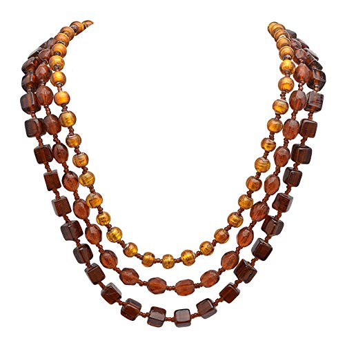 Zephyrr Fashion Jewellery Multi Strand Necklace Brown & Yellow Glass Beaded Contemporary