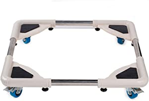 LEEREK Multi-Functional 4 Wheels Movable Base Stands with Size Adjustable Telescopic Furniture Dolly Roller for Dryer, Washing Machine and Refrigerator