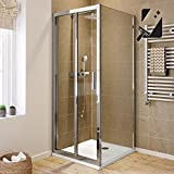 760 x 760 Bifold Easy Clean 6mm Reversible Folding Glass Shower Enclosure Set by iBathUK