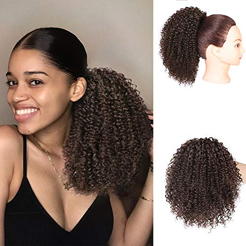 Vigorous Afro Ponytail Kinky Curly Drawstring Ponytail Synthetic Clip in Hair Extensions for African Americans Natural Hair Curly Ponytail for ()