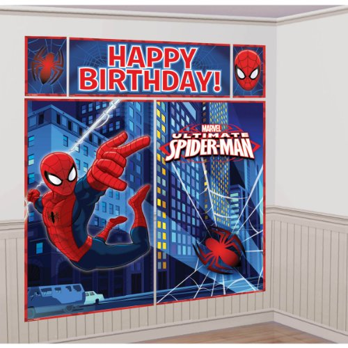 Comic Book Girl Costume Party City (5-Piece Spider-Man Scene Setter Set, Multicolored)