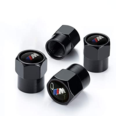 Soniubia 4Pcs Black Metal Tire Valve Stem Caps with Logo(BMWs M): Automotive