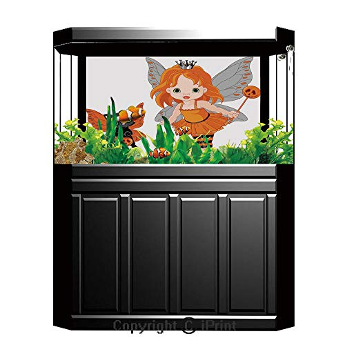 Aquarium Decoration Background,Halloween,Halloween Baby Fairy and Her Cat in Costumes Butterflies Girls Kids Room Decor Decorative,Multicolor,Photography Backdrop for Photo Props -