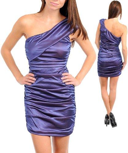 G2 Fashion Square One Shoulder Satin Ruched Dress(DRS-EVP,PPL-S)