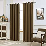 "DyFun 2 Panels Linen Thermal Insulated Treatment Grommet Top Blackout Window Curtains/Drapes(52""×84"", Coffee) Review"