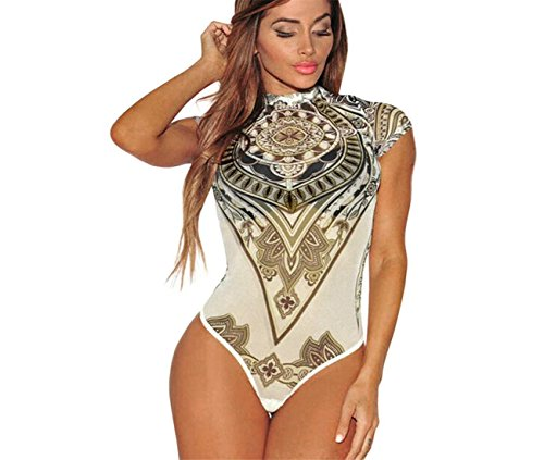 (ABASSKY Jumpsuit for Women,Summer Sexy Print Voile Perspective Bodysuit Jumpsuit Leotard Club Wear (White, XL))