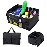 Ouioui Car Trunk Organizer, Collapsible Portable Multipurpose Compartments Storage Accessories Back seat Organizers with Side Pockets, Black