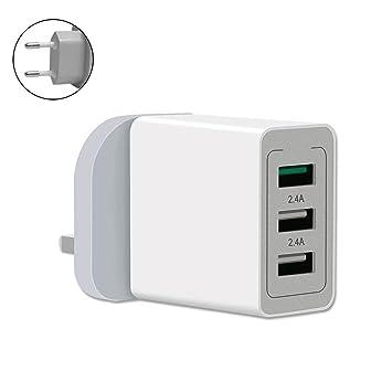 Alftek Cargador de Pared QC 3.0 Carga rápida 3 Puertos Adaptador de Corriente USB Enchufe de la UE