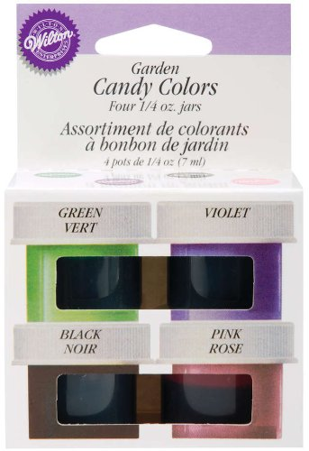 Wilton Candy Colors .25oz 4/PkgPink, Green, Violet & Black